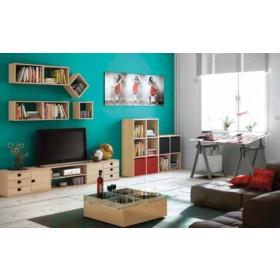 Kit Scaffale 5 ripiani in legno di pino Serie Natura cm. 65x40x171h - arredo casa