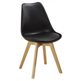 Sedia nera con gambe in legno e cuscino cm 54x49x83h Mod SOFT
