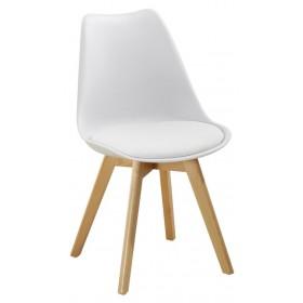 Sedia bianca con gambe in legno e cuscino cm 54x49x83h Mod SOFT