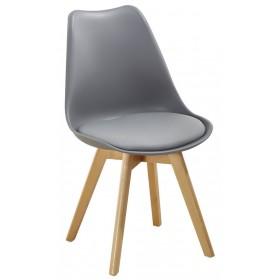 Sedia grigia con gambe in legno e cuscino cm 54x49x83h Mod SOFT