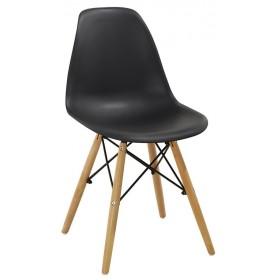 Sedia nera con gambe in legno e rinforzi in metallo cm 54x46x82h Mod MOMO