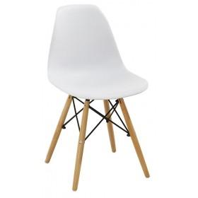 Sedia bianca con gambe in legno e rinforzi in metallo cm 54x46x82h Mod MOMO