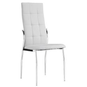 Sedia rivestita in PU bianco gambe in metallo cm 45x52x99h Mod LARA
