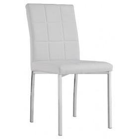 Sedia rivestita in PU bianco gambe in metallo cm 44x53x87h Mod ELENA