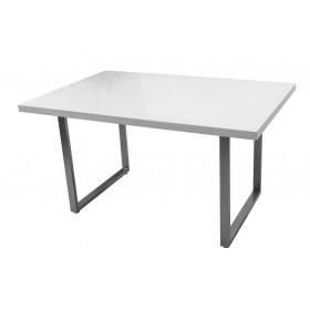 Tavolo in MDF bianco lucido gambe in metallo cm 140x90x75h Mod ELEGANT