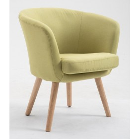 Poltroncina in tessuto verde gambe in legno cm 68x48x80h Mod BEAUTY
