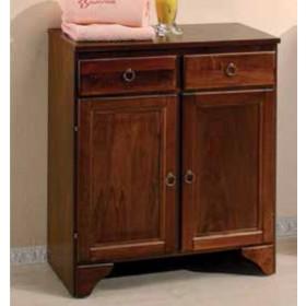 Base doppia in legno con 2 ante e 2 cassetti finitura arte povera serie Doria cm. 66x34x76h - arredo bagno casa