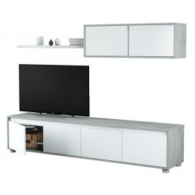Parete attrezzata mobile TV colore bianco/cemento Mod ALIDA
