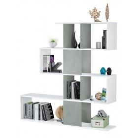 Libreria decorativa 4 ripiani colore bianco/cemento cm 145x29x145h Mod ZIG-ZAG 2