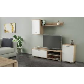 Parete attrezzata mobile TV colore rovere/bianco cm 170x36x190h