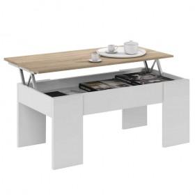 Tavolo da caffè bianco/rovere elevabile con contenitore cm 100x50x45/56h