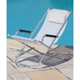 Sedia a sdraio serie Playa struttura in alluminio colore bianco - sedia giardino mare campeggio