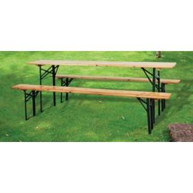 Set birreria Tavolo e 2 Panche pieghevoli in legno struttura in acciaio cm. 220x70x76h - giardino campeggio sagra