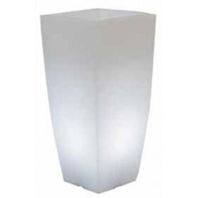 Vaso design con luce bianca in resina bianco ghiaccio Mod. Home Light cm. 33x33x70h per arredamento interno ed esterno - fioriera casa giardino