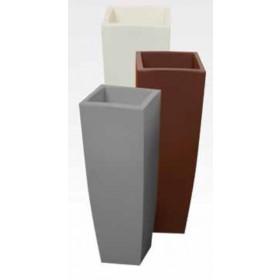 Vaso design in resina bianco ghiaccio Mod. Home cm. 33x33x70h per arredamento interno ed esterno - fioriera casa giardino