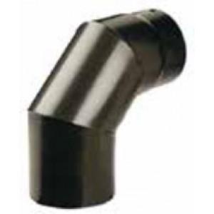 Gomito 90° porcellanato pesante per tubi stufa verniciato nero opaco diametro cm. 15 - impianto riscaldamento casa