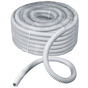 Guaina spiralata flessibile grigia in PVC rotolo 30 m ø 16 mm