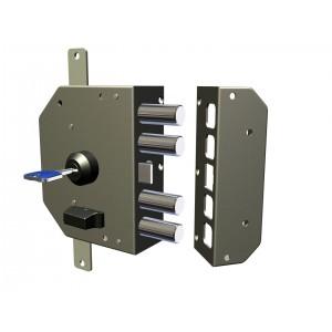 Serratura sicurezza a pompa CR con chiave mano sinistra 4 catenacci Art 3200 K55