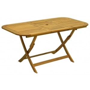 Tavolo pieghevole con prolunga Serie Flower in legno balau finitura ad olio cm. 120/160x80x74h - arredo casa giardino