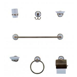 Serie bagno set completo da 7 pz. in ottone bronzato e ceramica Art. 8300 B - Mod. SOFIA