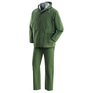 Completo impermeabile giacca e pantaloni poliestere PVC verde tg XL