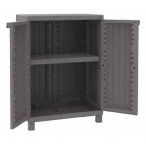 Kit armadio 2 ante in resina effetto legno Terry Mod. C-Wood cm. 68x39x91.5h - arredo casa ufficio balcone garage condominio
