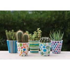 Vasetto in ceramica smaltata con decori assortiti ø cm. 7x7h - fioriera casa giardino