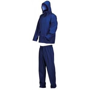 Completo impermeabile giacca e pantaloni blu con cappuccio taglia L