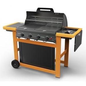 Barbecue a gas Mod. Adelaide Classic Deluxe Extra struttura in acciaio con 4 bruciatori e fornello laterale - arredo casa giardino