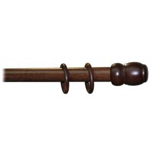 Bastone per tende a tiro in legno noce scuro ø 35 mm lunghezza 240 cm