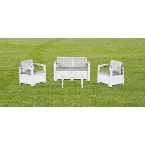 Salotto Texas bianco in resina antiurto completo di cuscini - arredo giardino casa