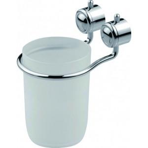 Portaspazzolino bicchiere bagno in metallo cromato e resina Art. XL-801 - Mod. DIANA