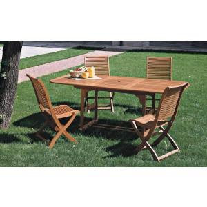 Tavolo con prolunga in legno balau finitura ad olio cm. 150/200x100x75h - arredo casa giardino