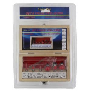 Set 6 Frese GAMBO codolo cilindrico 6 mm kit per legno in scatola