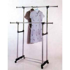 Stander doppio in metallo cromato con bracci estensibili ed altezza regolabile - arredo casa guardaroba armadio