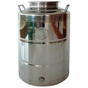 Fusto per olio contenitore acciaio inox fondo a pentola capacità 50 l