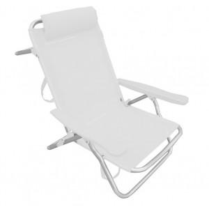 Spiaggina sedia rettrattile bianca struttura alluminio cm 53x62x77h