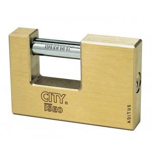 Lucchetto serranda ISEO in ottone larghezza 70 mm serie CITY