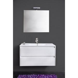 Mobile bagno bianco completo di specchio e lavabo cm 90 Mod FEDERICA