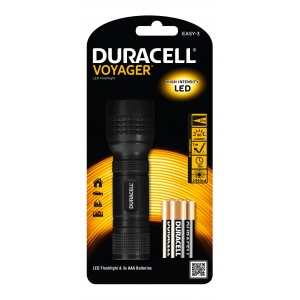 Torcia LED in alluminio DURACELL 60 lumen Mod VOYAGER EASY-3