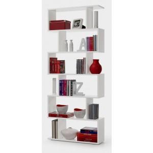 Libreria moderna bianco lucido 6 ripiani cm 80x20x192h Mod ATHENA