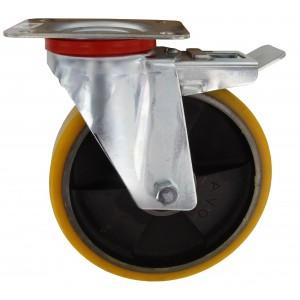Ruota rivestita poliuretano AVO ø mm 200x40 piastra girevole con freno