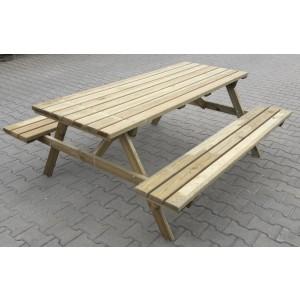 Set pic nic tavolo e 2 panche in legno levigato cm 180x160x71h Mod ECO