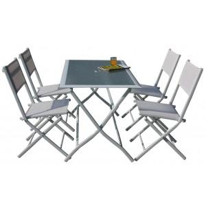 Set Tavolo e 4 sedie pieghevoli in acciaio verniciato bianco Mod ASTRO