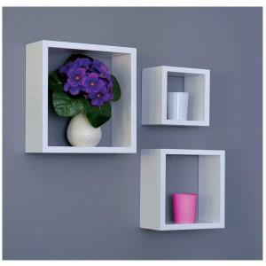 Set 3 mensole quadrate colore bianco in MDF/PVC Mod NICHE