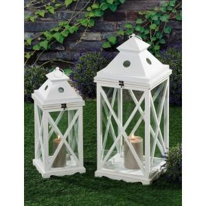 Lanterne decoro set 2 pezzi in legno e metallo bianco Mod MAGNUM GEO