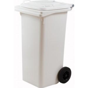 Pattumiera materiale plastico con ruote L 120 colore bianco cm 55x50x94h