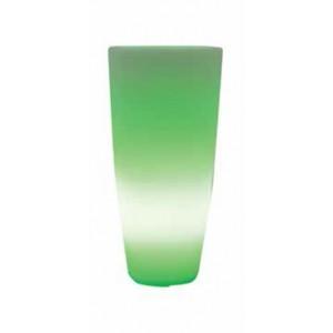 Vaso design tondo con luce bianca in resina bianco ghiaccio Mod. Home Light ø cm. 33x70h per arredamento interno ed esterno - fioriera casa giardino