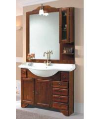 Mobile bagno in legno finitura arte povera con specchio e lavabo ...
