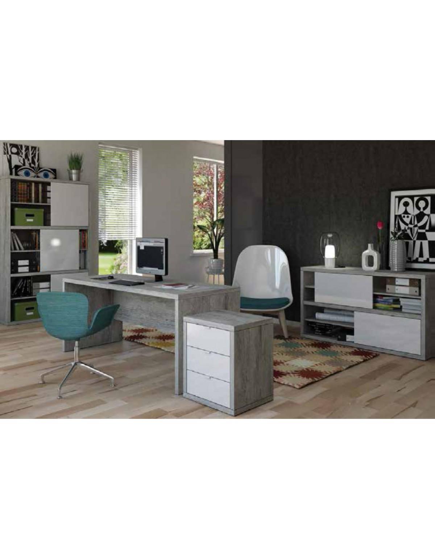 Libreria Scorrevole Fai Da Te mobile per ufficio con ante scorrevoli composad rovere grigio cm.  35.5x140x86.5h linea pratico - arredo casa libreria